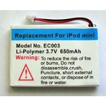 Battery kit for iPod Mini